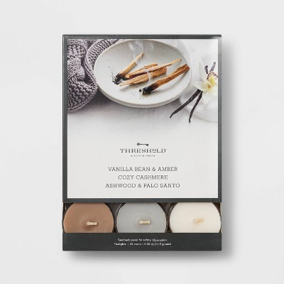 24pk Tealight Vanilla Bean and Amber/Cozy Cashmere/Ashwood Candle - Threshold™