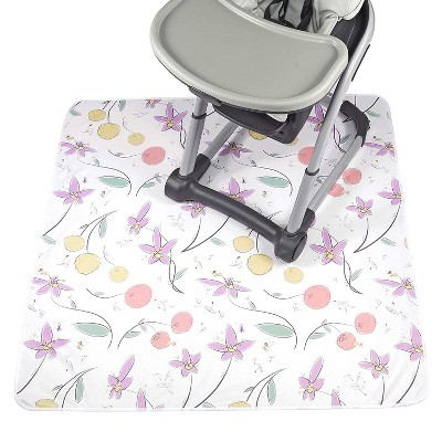 """JumpOff Jo Splat Mat - Waterproof and Washable, for Booster Seat, Tabletop, Carpet - Protection from Spills, Indoor-Outdoor - 51 x 51"""" - Floral Fairy"""
