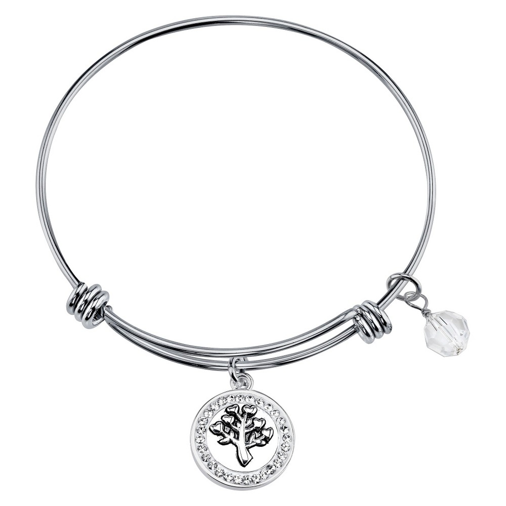 Women's Stainless Steel 'Family' Expandable Bangle - Silver