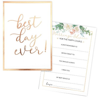 Sparkle and Bash 60-Pack Best Day Ever Marriage Advice Cards for Weddings, Floral with Gold Foil Edge 5x7 in