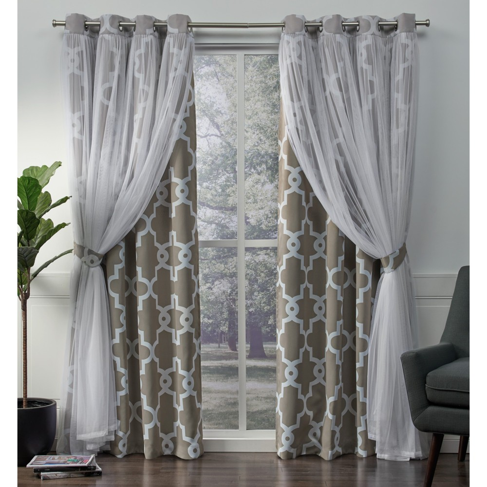 Image of Alegra Layered Geometric Woven Blackout with Sheer Top Curtain panels Natural 52x108 - Exclusive Home