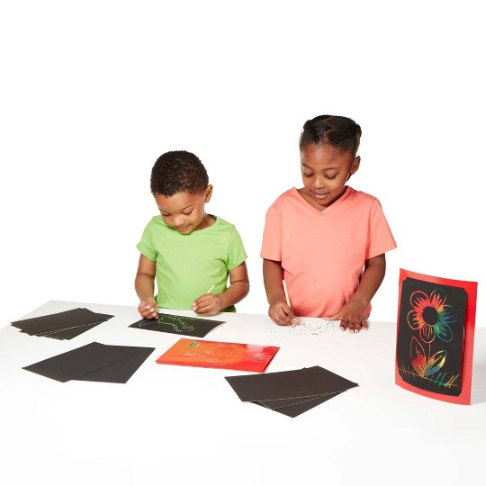 Melissa & Doug Deluxe Combo Scratch Art Set: 16 Boards, 2 Stylus Tools, 3 Frames image number null