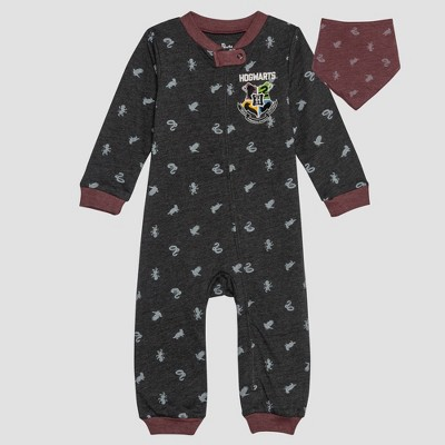 Baby Harry Potter 2pc Long Sleeve Romper and Bib Set - Gray 12M