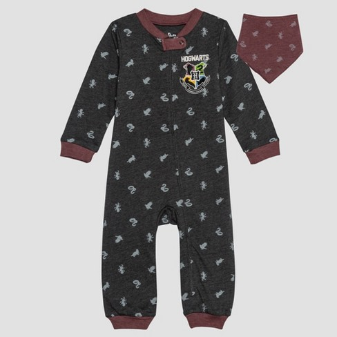 Baby Harry Potter 2pc Long Sleeve Romper and Bib Set - Gray - image 1 of 4