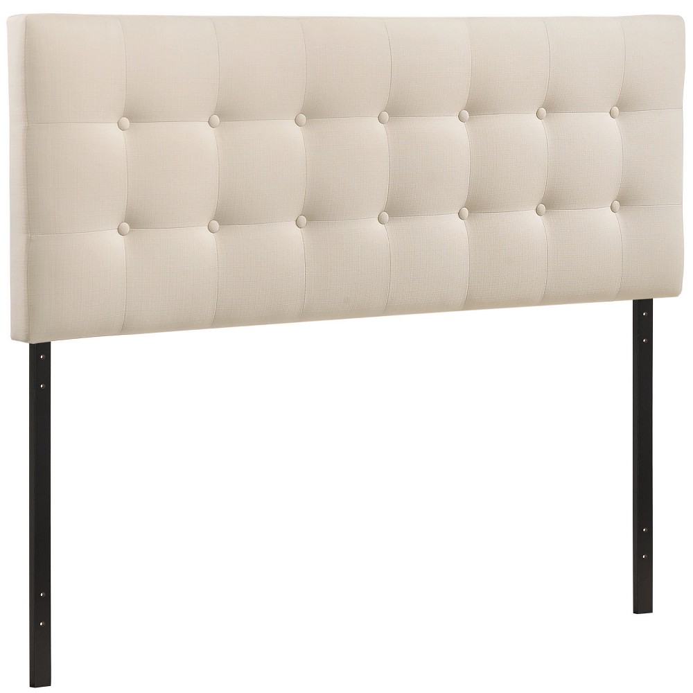 Emily Queen Upholstered Fabric Headboard Ivory - Modway