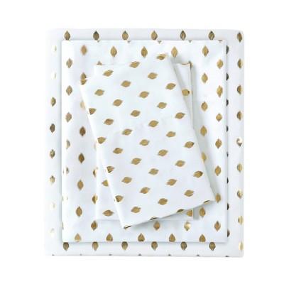 Queen Metallic Dot Printed Sheet Set White/Gold