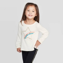 Toddler Girls' 'Rainbow Star' Cozy Blouse - Cat & Jack™ Off-White