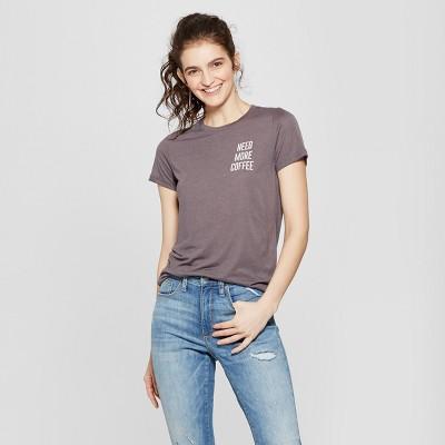 Women's Short Sleeve Need More Coffee Graphic T-Shirt - Zoe+Liv (Juniors')Charcoal M