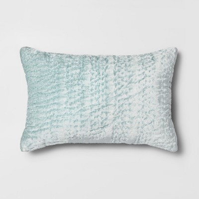 Quilted Velvet Lumbar Throw Pillow Light Teal - Opalhouse™