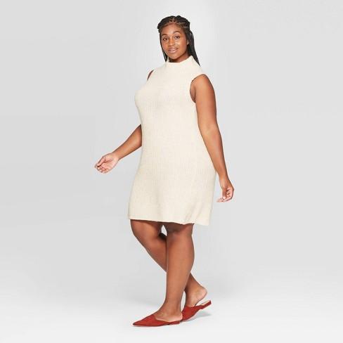 Women\'s Plus Size Sleeveless Cowl Sweater Dress - A New Day™ Cream 2X