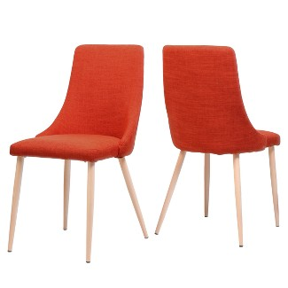 Set of 2 Sabina Mid Century Dining Chairs Muted Orange - Christopher Knight Home