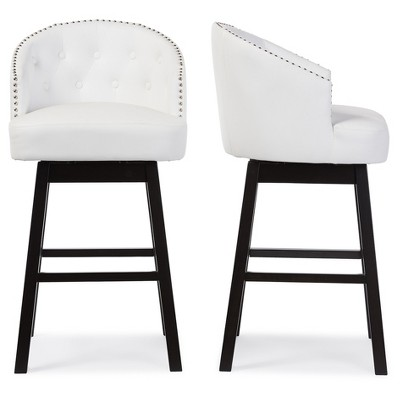 Set of 2 Avril Modern and Contemporary Faux Leather Tufted Swivel Barstool with Nail Heads Trim - White - Baxton Studio