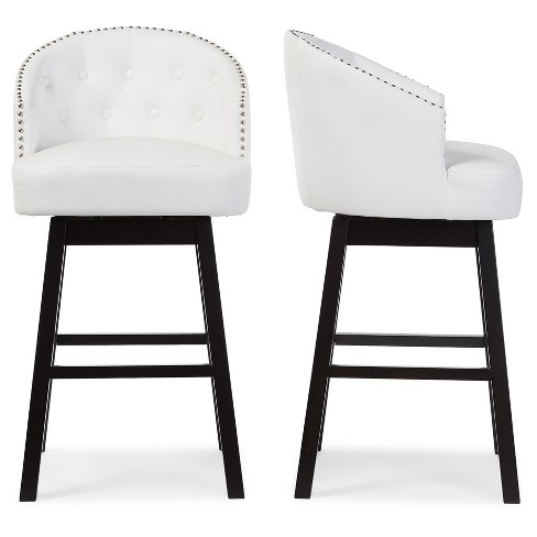 Phenomenal Set Of 2 Avril Modern And Contemporary Faux Leather Tufted Swivel Barstool With Nail Heads Trim White Baxton Studio Dailytribune Chair Design For Home Dailytribuneorg
