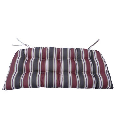 """Northlight  19"""" Striped Tufted Outdoor Patio Wicker Furniture Cushions 3pc - Red/Black - image 1 of 2"""