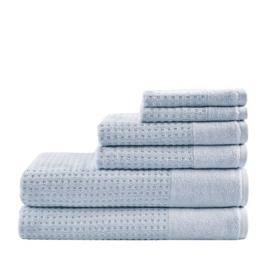 6pc Spa Waffle Jacquard Cotton Bath Towel Set Blue