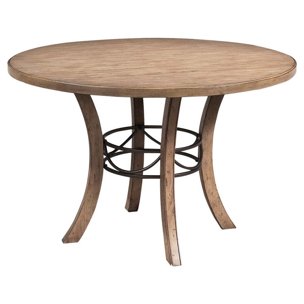 Charleston Round Wood Table with Metal Ring Tan - Hillsdale Furniture