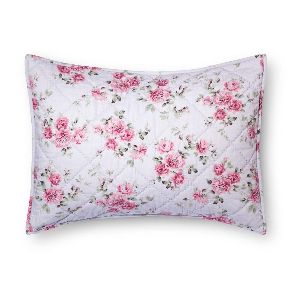 Purple Berry Rose Linen Blend Pillow Sham (Standard) - Simply Shabby Chic