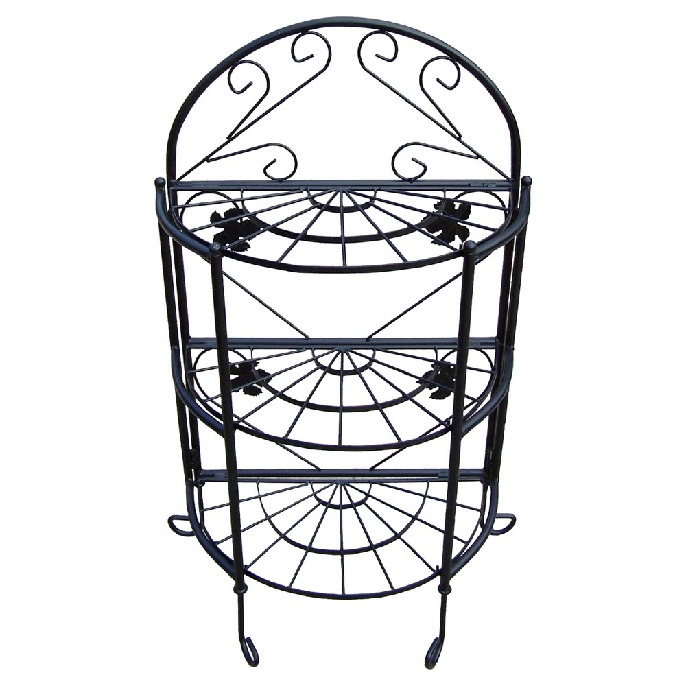 "Image of ""Rectangular 24"""" Oakland Semi-Circle Plant Stand - Black"""