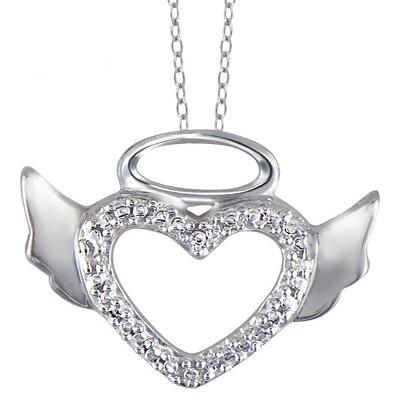 "Women's Sterling Silver Round-Cut White Diamond Pave Set Angel Halo Wing Heart Pendant (18"")"
