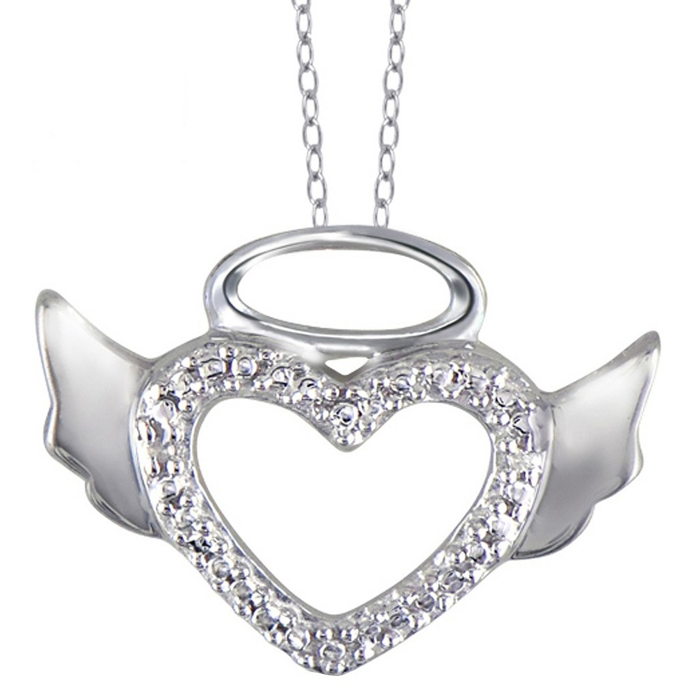 Women's Sterling Silver Round-Cut White Diamond Pave Set Angel Halo Wing Heart Pendant - White (18)