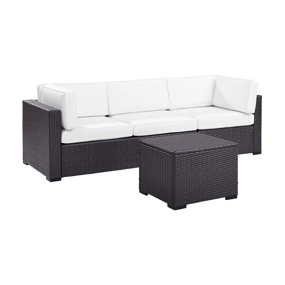 Biscayne 3pc All-Weather Wicker Patio Seating Set - White - Crosley