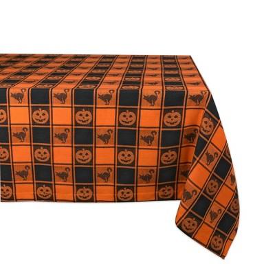 "60""x84"" Halloween Woven Check Tablecloth Orange - Design Imports"