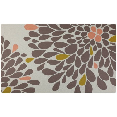 Drymate Dog and Cat Feeding Placemat - Floral Brown & Coral
