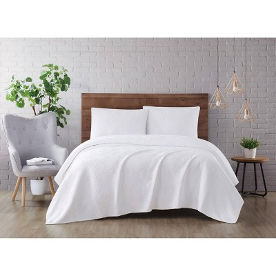 King 3pc Washed Rayon Basketweave Quilt Set White - Brooklyn Loom