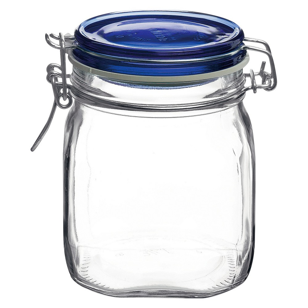 Image of Bormioli Rocco Fido .75 Liter Canning Jar with Blue Lid -Set of 12