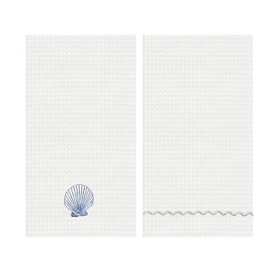 C&F Home Scallop Shell Waffle Weave Embroidered Cotton Kitchen Towel Set