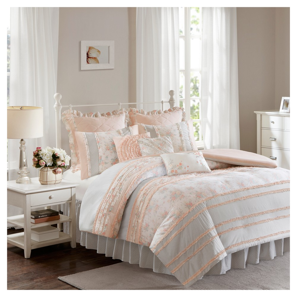 Desiree Cotton Percale Duvet Cover Bedding Set with Euro and Bedskirt, Pink
