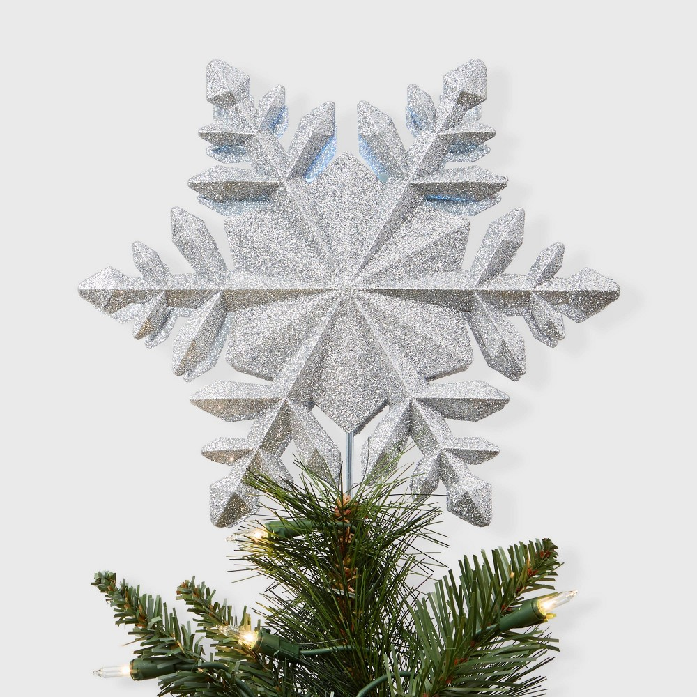 Image of 10'' Snowflake Projection Tree Topper White - Wondershop , Silver