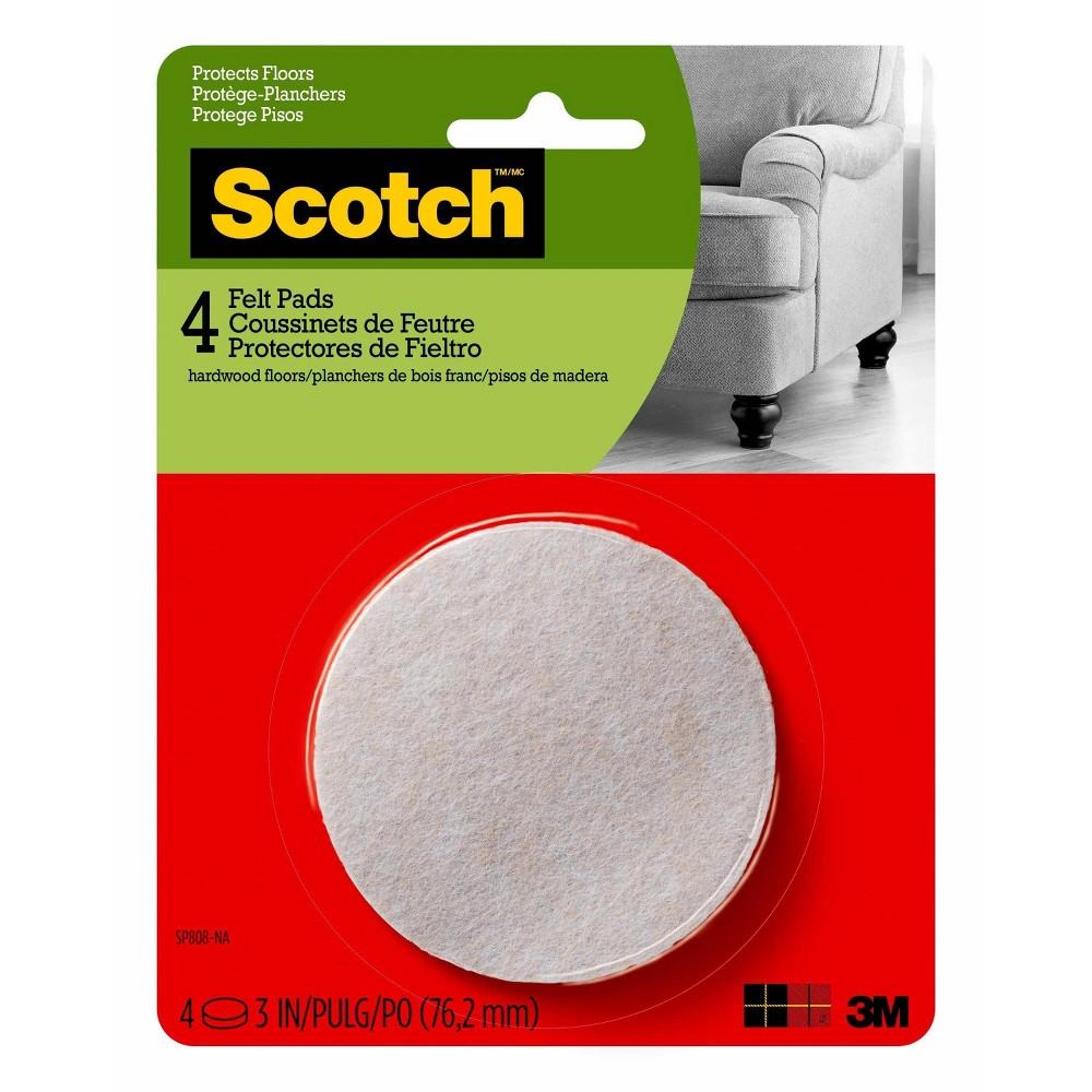 Scotch 3 4pk Felt Pads Oatmeal