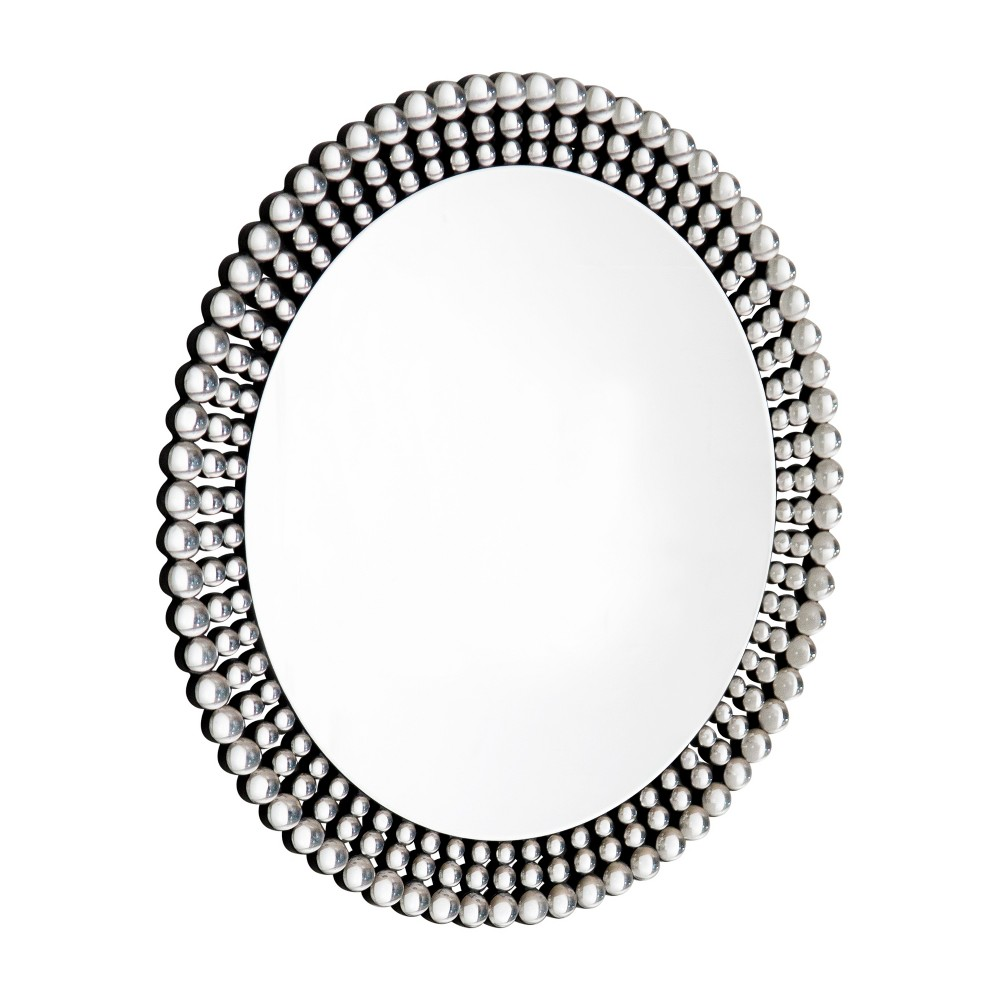 """Image of Abbyson Living 35""""x35"""" Palma Silver Beaded Round Wall Mirror Silver"""
