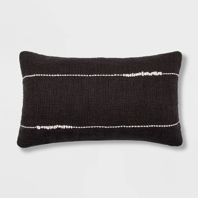 Embroidered Thin Line Lumbar Throw Pillow Black - Project 62™