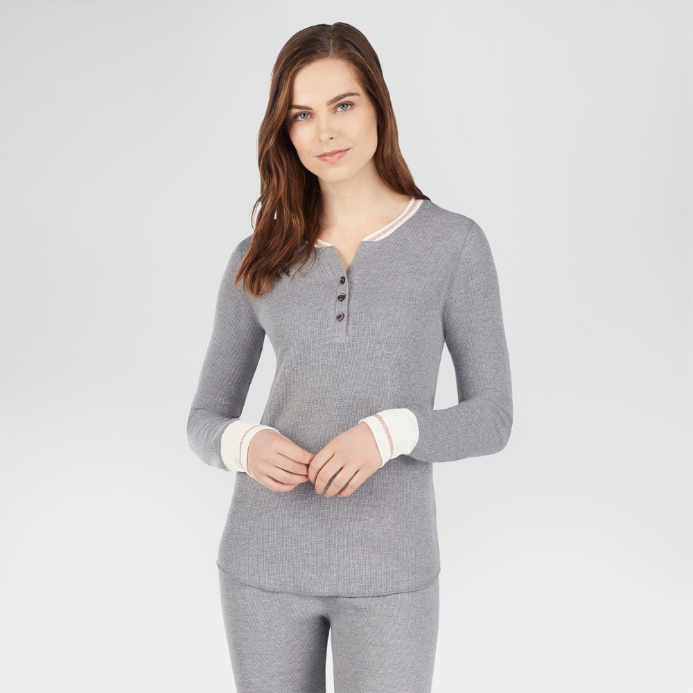 Warm Essentials by Cuddl Duds Women's Everyday Waffle Henley Thermal Top - Gray Heather M