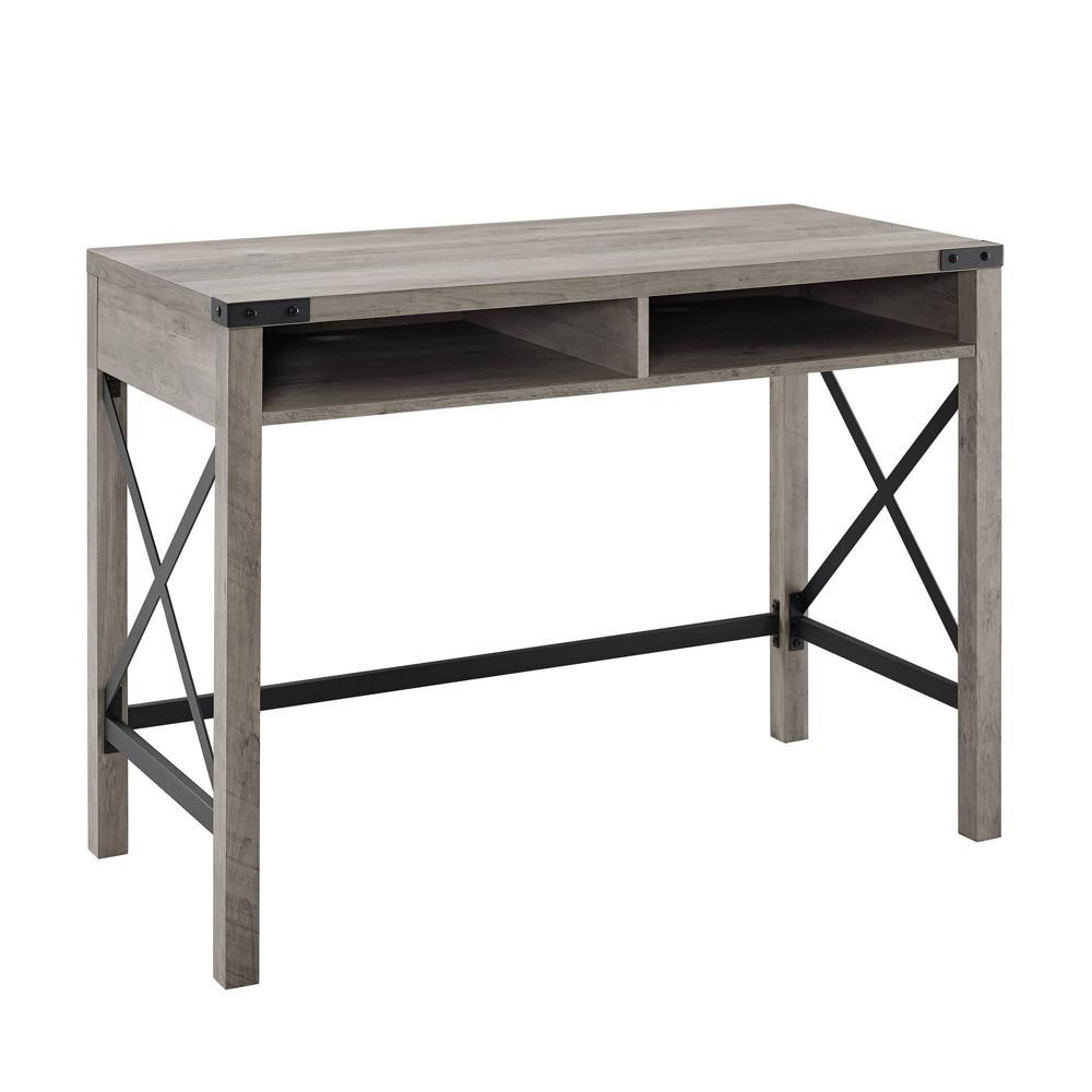 42 Farmhouse Metal & Wood Desk Gray Wash - Saracina Home