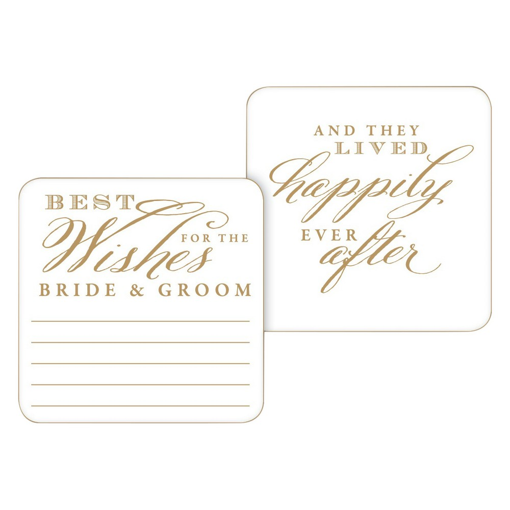 Image of 20ct Best Wishes for the Bride and Groom Paper Coasters, White