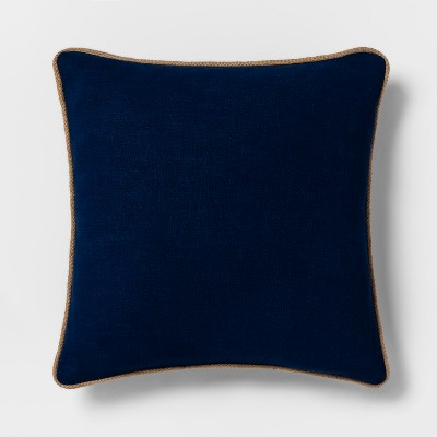 Jute Trim Oversize Square Throw Pillow Blue - Threshold™