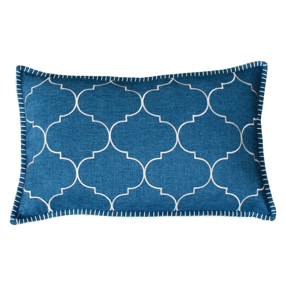 Image of Ava Whipstitch Embroidered Oversize Lumbar Throw Pillow Blue - Decor Therapy