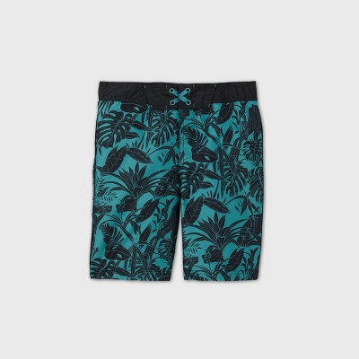 Boys' Tropical Leaf Print Swim Trunks - art class™ Teal