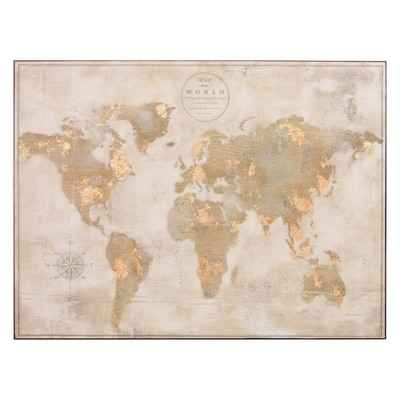 "30"" x 40"" Large Antique Vintage Stretched out World Map Unframed Wall Canvas Gold/Off White - Patton Wall Decor"