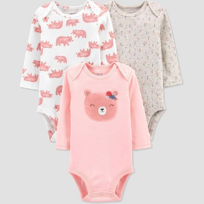 Baby Girls' 3pk Bear Long Sleeve Bodysuit - Just One You® made by carter's Pink 9M
