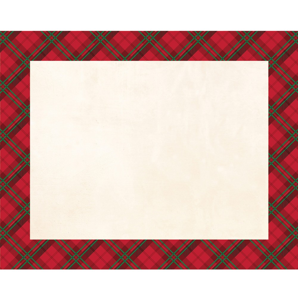 Image of 12ct Holiday Plaid Placemats Red, White Red