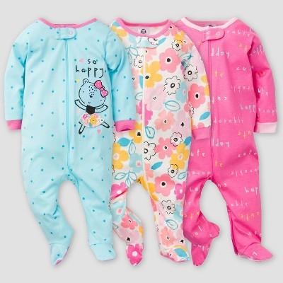 Gerber Baby Girls' 3pk Bear Sleep N' Play - Pink/Blue 0-3M