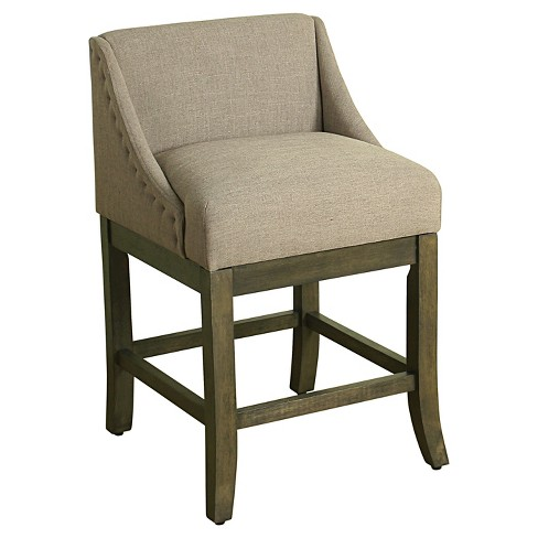 24 Low Back Nailhead Trim Counter Stool Gray Homepop