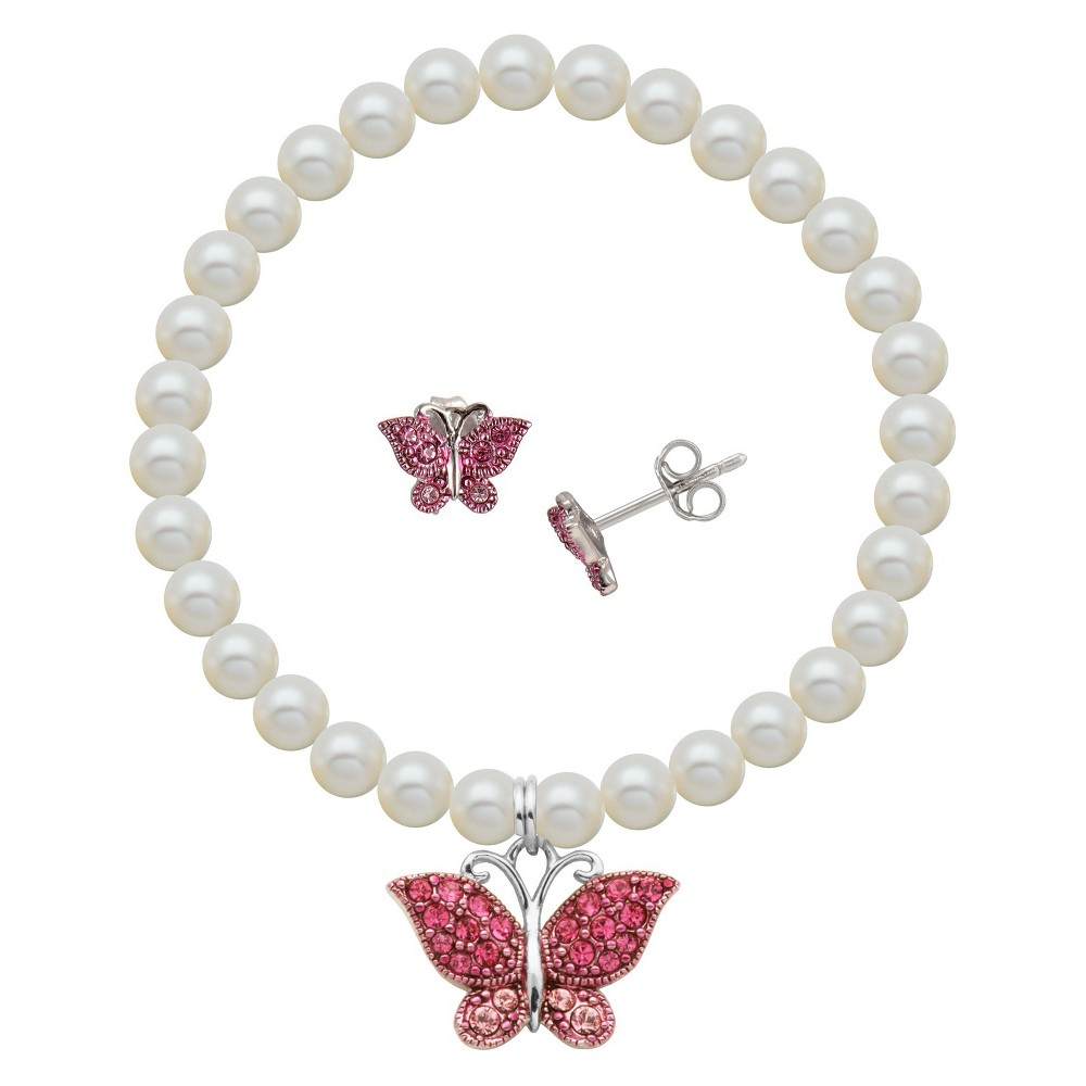 Children's Sterling Silver White Shell Pearl and Crystal Cupcake Stud and Bracelet Combo, Girl's