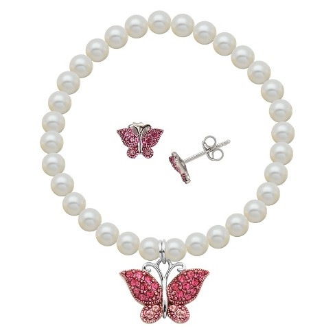 Children's Sterling Silver White Shell Pearl and Crystal Cupcake Stud and Bracelet Combo - image 1 of 3