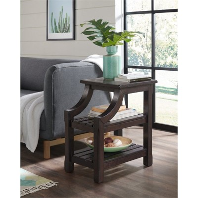 Barn Door Chairside Table with Power Espresso Brown - Martin Svensson Home
