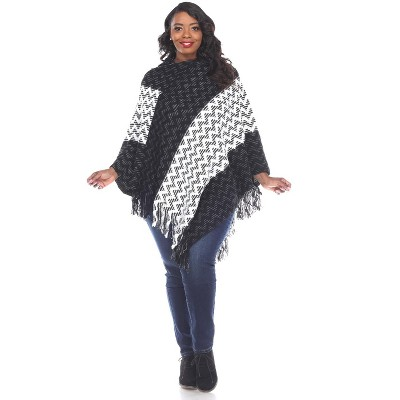 White Mark Womens Plus Stripe Casual Fit Three Quarter Sleeve V Neck Shawl Sweater - Black One Size Fits Most